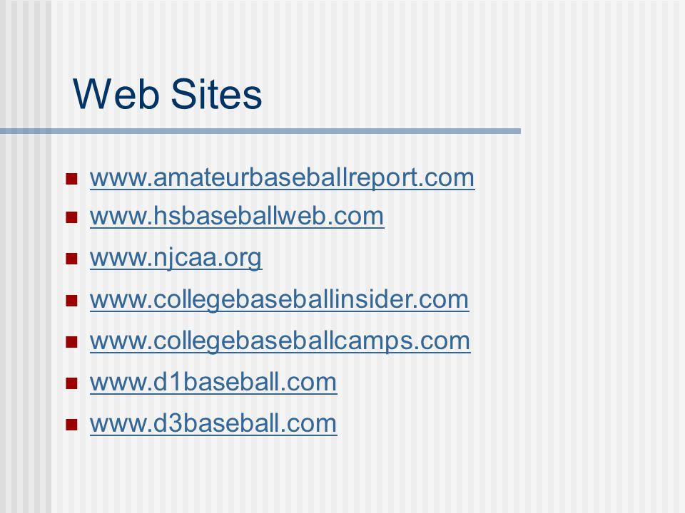 Web Sites www.amateurbaseballreport.com www.hsbaseballweb.com www.njcaa.org www.collegebaseballinsider.com www.collegebaseballcamps.com www.d1baseball.com www.d3baseball.com