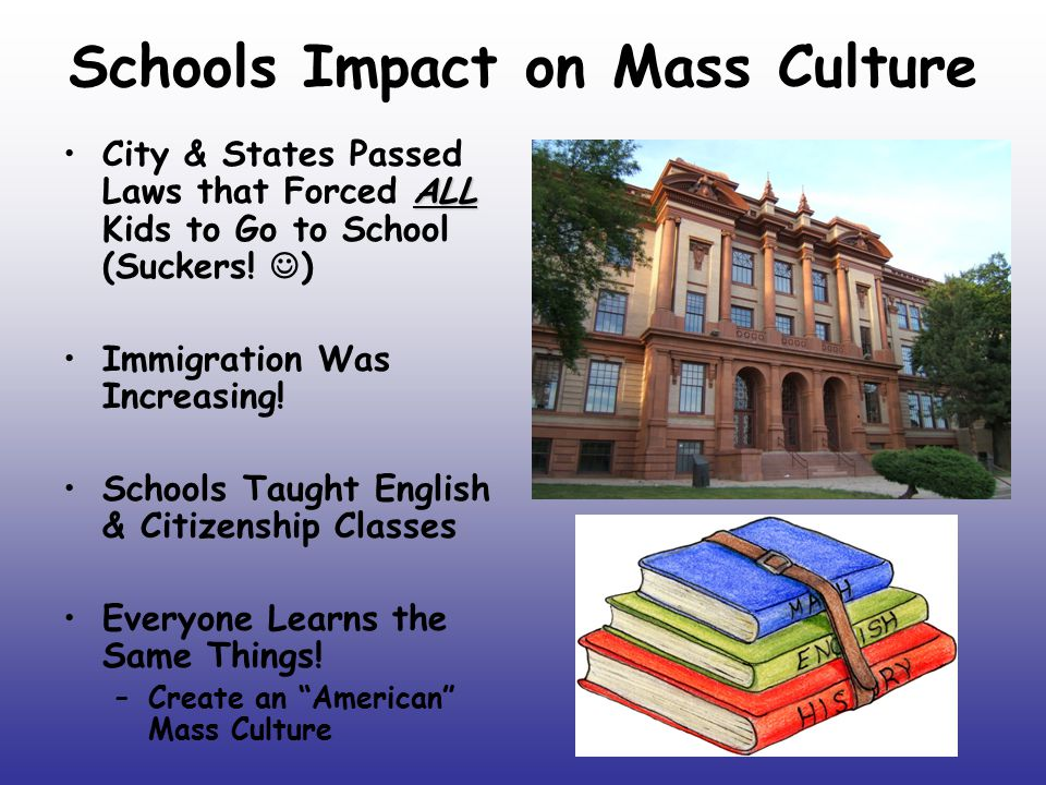 Schools Impact on Mass Culture ALLCity & States Passed Laws that Forced ALL Kids to Go to School (Suckers! ) Immigration Was Increasing! Schools Taugh
