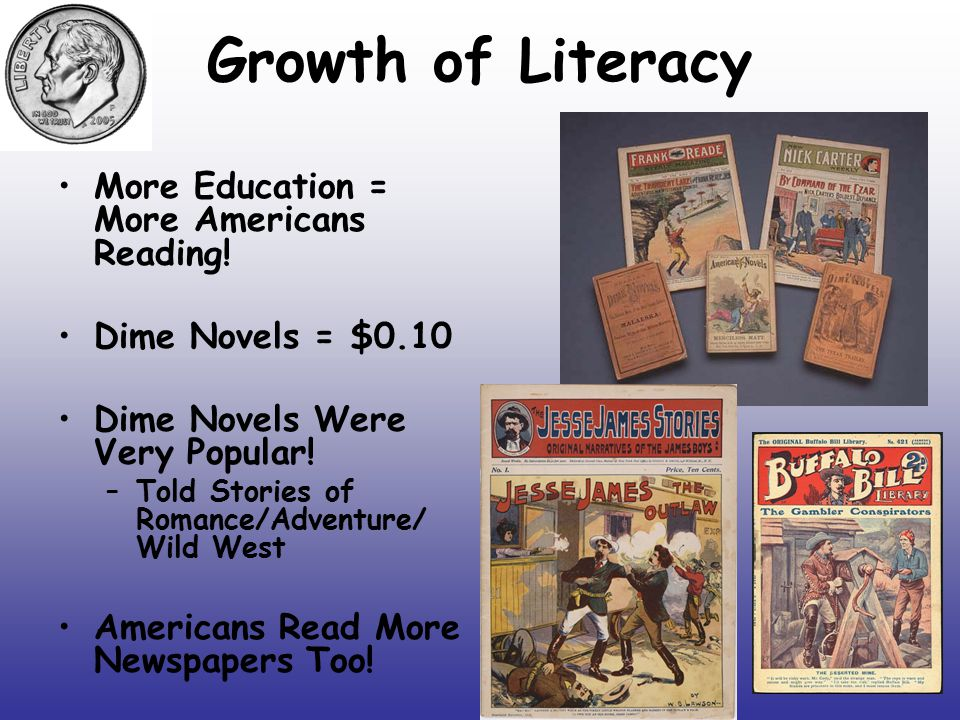 Growth of Literacy More Education = More Americans Reading! Dime Novels = $0.10 Dime Novels Were Very Popular! –Told Stories of Romance/Adventure/ Wil