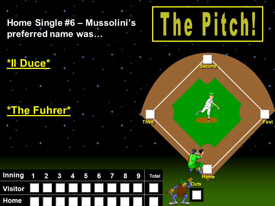 Visitor Home Inning 123456789 Total Home First Third Second Outs Home Single #6 – Mussolini's preferred name was… *Il Duce* *The Fuhrer*