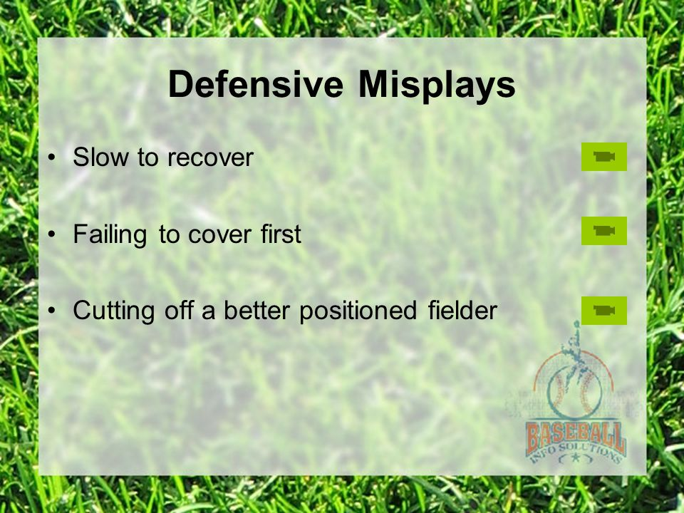 Defensive Misplays Slow to recover Failing to cover first Cutting off a better positioned fielder