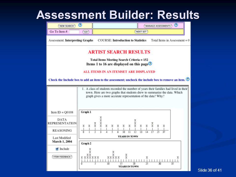 Slide 36 of 41 Assessment Builder: Results