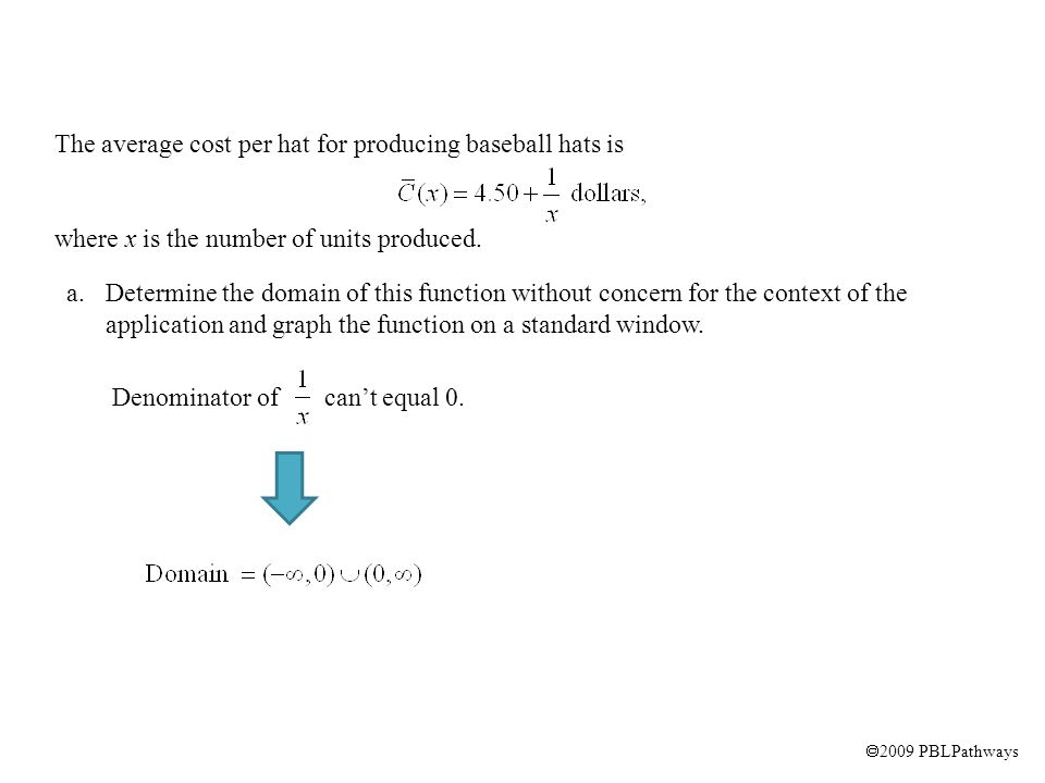  2009 PBLPathways a.Determine the domain of this function without concern for the context of the application and graph the function on a standard win