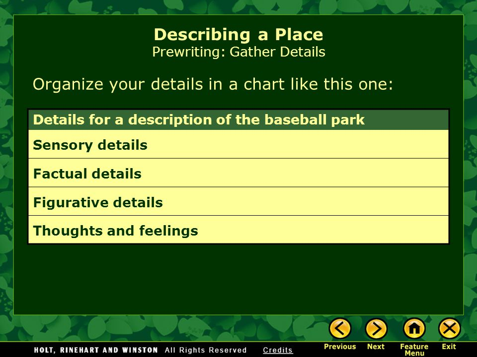 Describing a Place Prewriting: Gather Details Organize your details in a chart like this one: Details for a description of the baseball park Sensory d