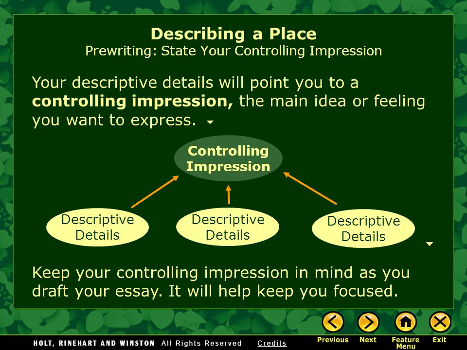 Describing a Place Prewriting: State Your Controlling Impression Your descriptive details will point you to a controlling impression, the main idea or