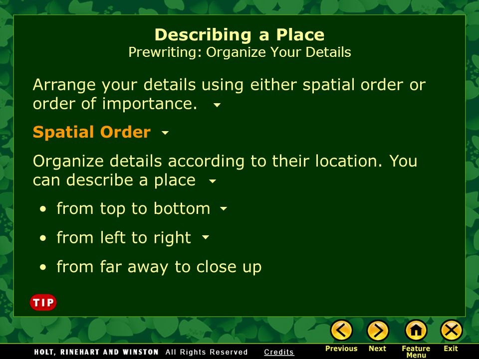 Describing a Place Prewriting: Organize Your Details Arrange your details using either spatial order or order of importance. Organize details accordin