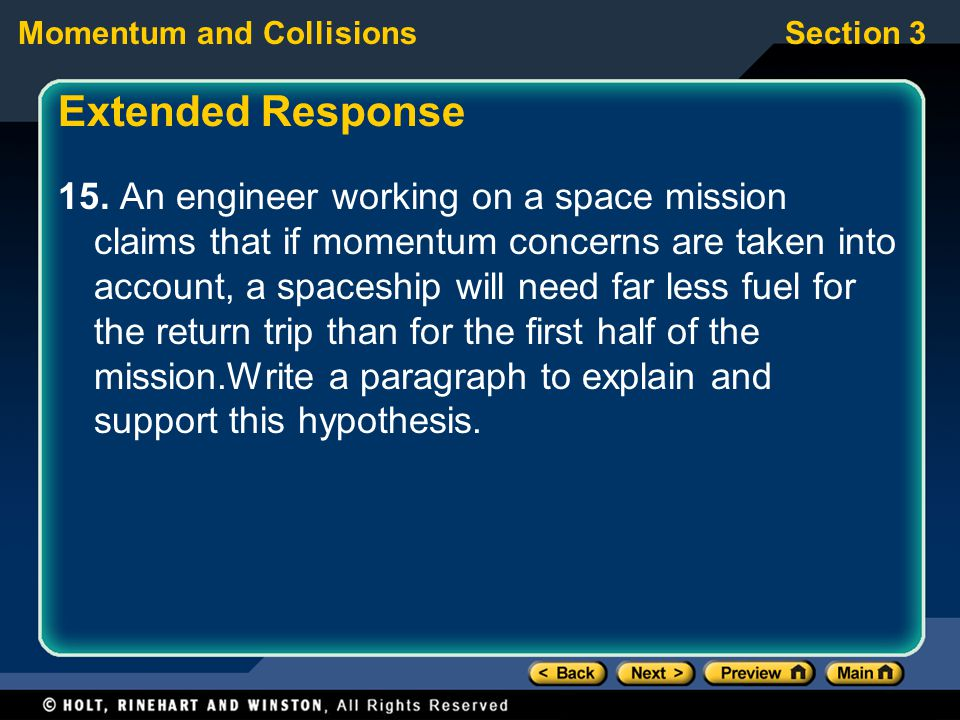 Section 3Momentum and Collisions Extended Response 15.