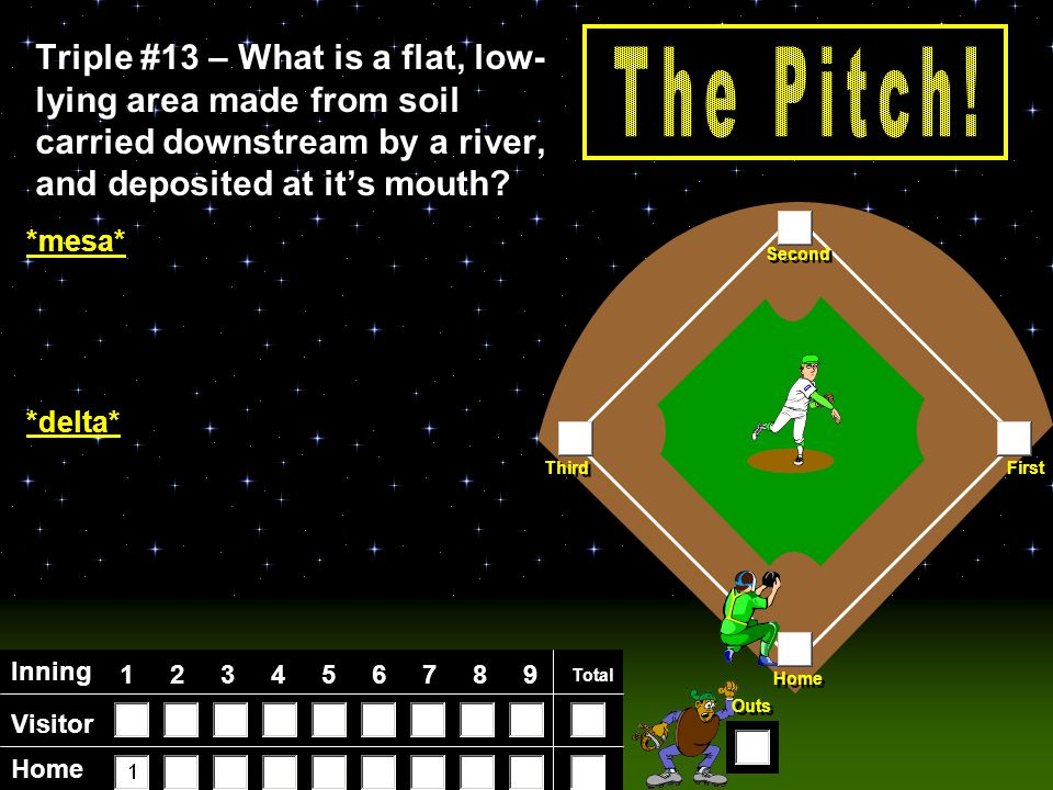 Visitor Home Inning 123456789 Total Home First Third Second Outs Triple #12 – What is a stretch of high land that separates river systems.