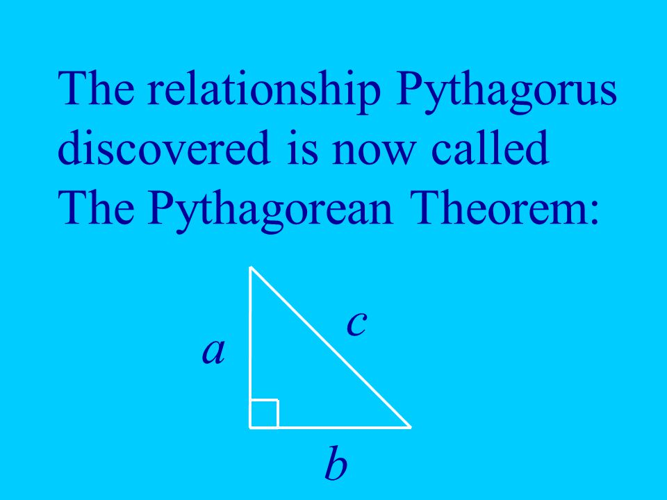 The relationship Pythagorus discovered is now called The Pythagorean Theorem: a b c