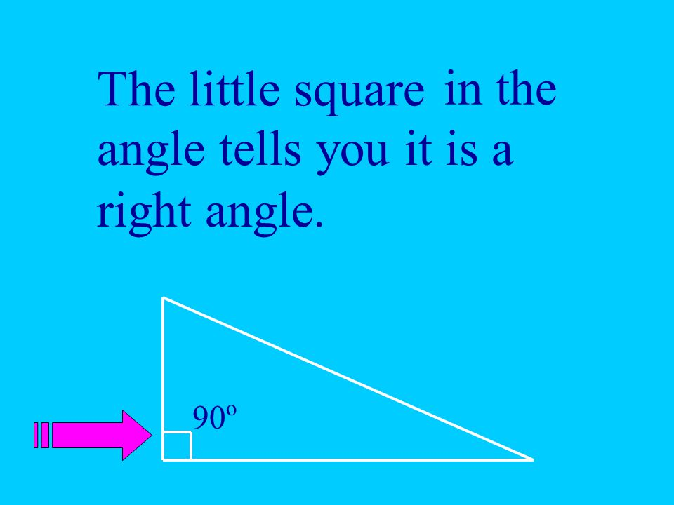 The little square 90 o in the angle tells you it is a right angle.