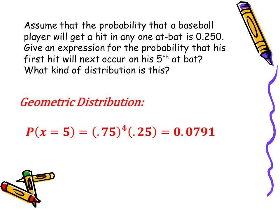 Assume that the probability that a baseball player will get a hit in any one at-bat is 0.250.