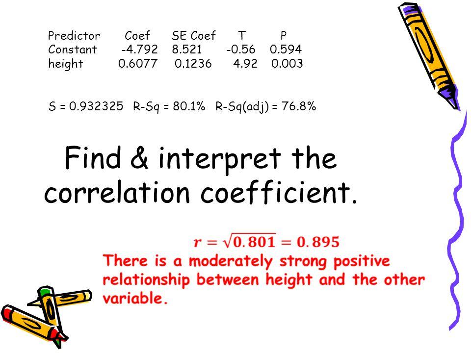 Find & interpret the correlation coefficient.