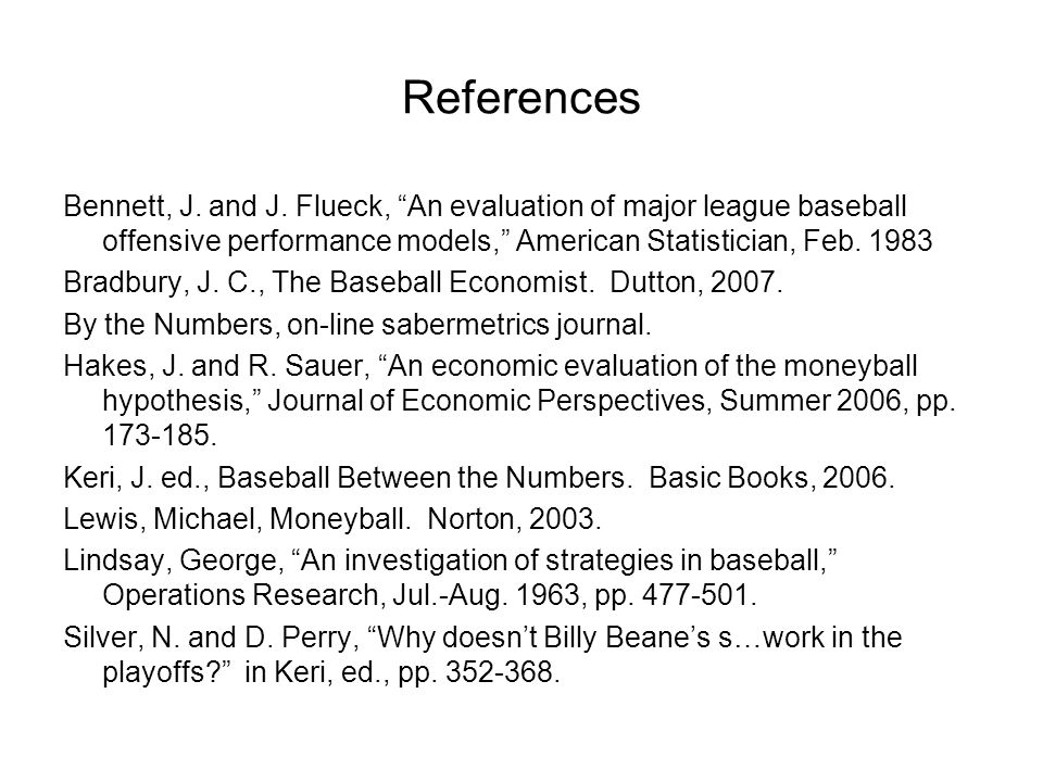 References Bennett, J. and J.