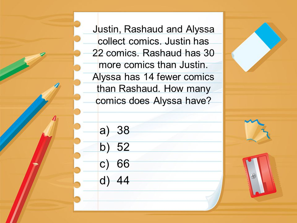 Justin, Rashaud and Alyssa collect comics. Justin has 22 comics. Rashaud has 30 more comics than Justin. Alyssa has 14 fewer comics than Rashaud. How