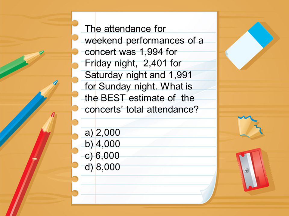 The attendance for weekend performances of a concert was 1,994 for Friday night, 2,401 for Saturday night and 1,991 for Sunday night. What is the BEST
