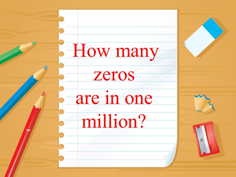 How many zeros are in one million?