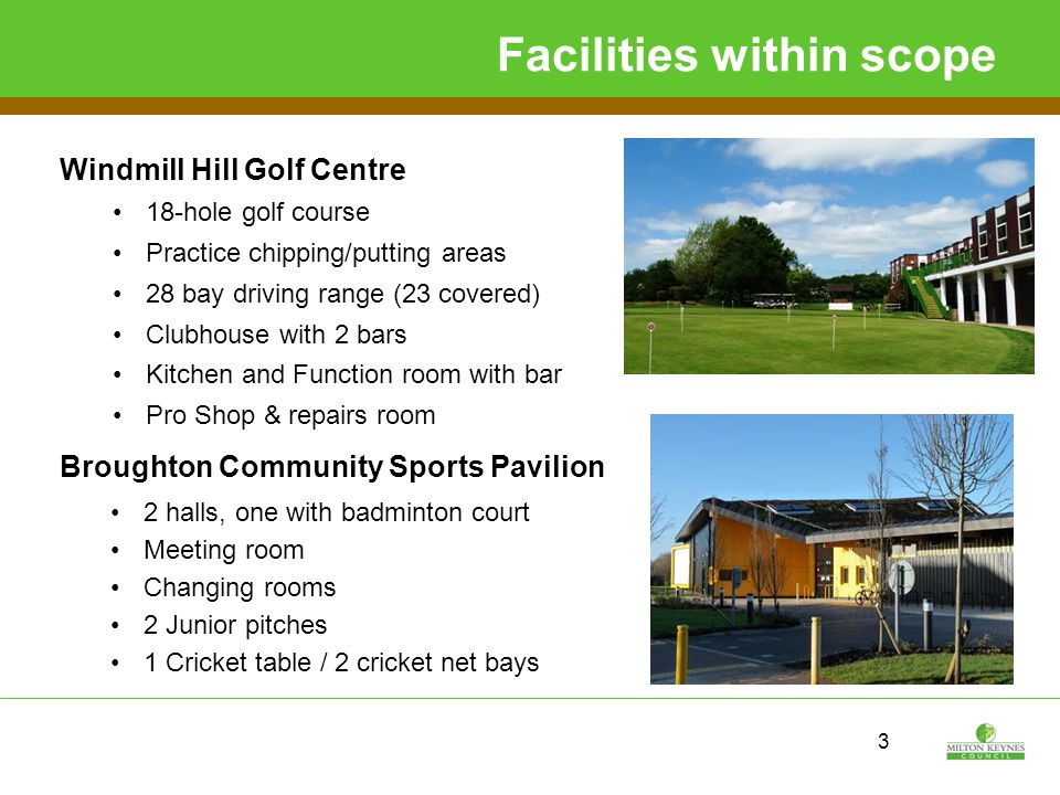 Facilities within scope Brooklands Community Sports Pavilion Due to open September 2015 Sports hall with 2 badminton courts Smaller hall with external patio area 2 Football pitches 2 Junior pitches 1 Cricket square 4