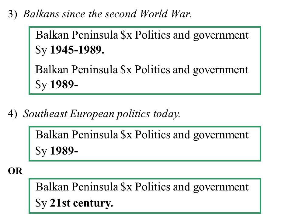 3) Balkans since the second World War. 4) Southeast European politics today.