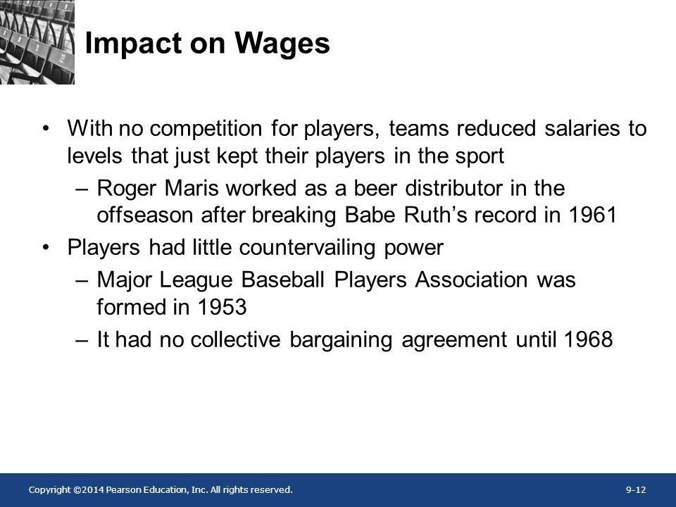 Copyright ©2014 Pearson Education, Inc. All rights reserved.9-12 Impact on Wages With no competition for players, teams reduced salaries to levels tha