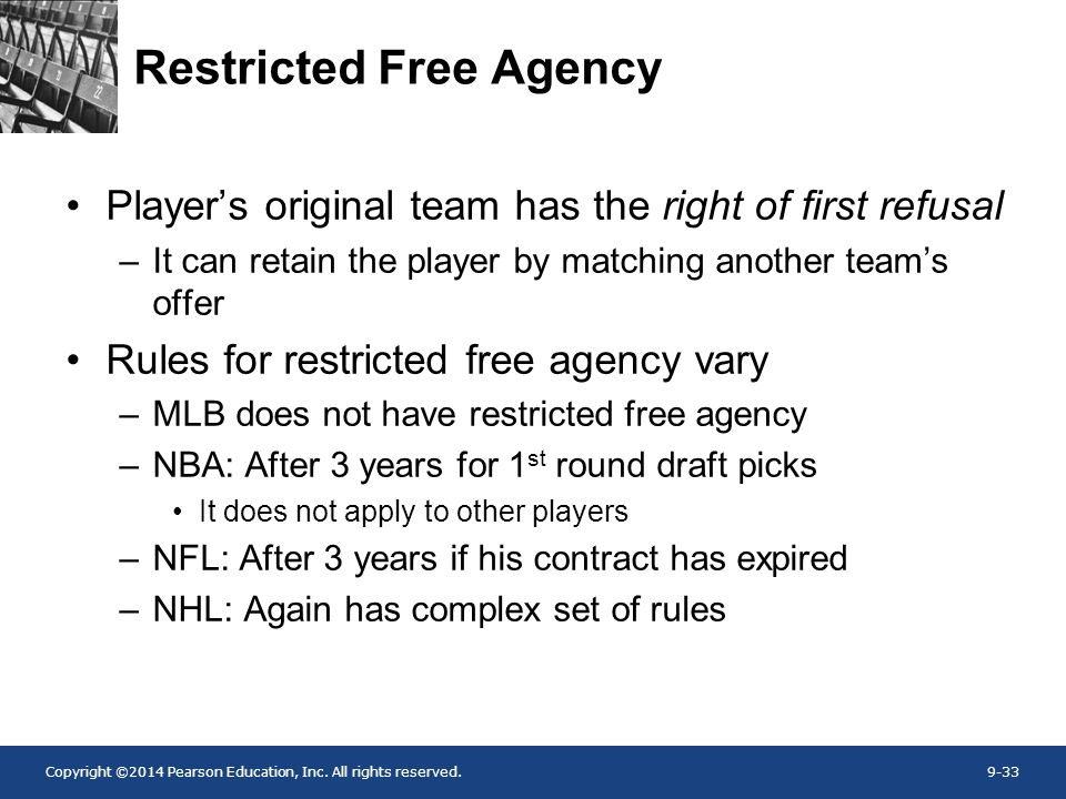 Copyright ©2014 Pearson Education, Inc. All rights reserved.9-33 Restricted Free Agency Player's original team has the right of first refusal –It can