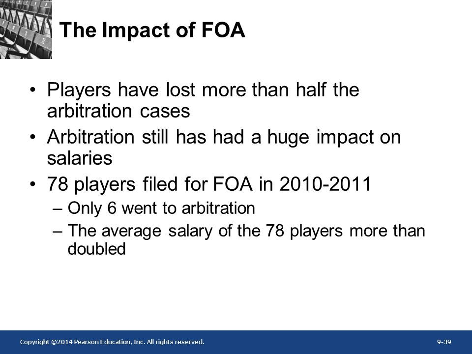 Copyright ©2014 Pearson Education, Inc. All rights reserved.9-39 The Impact of FOA Players have lost more than half the arbitration cases Arbitration
