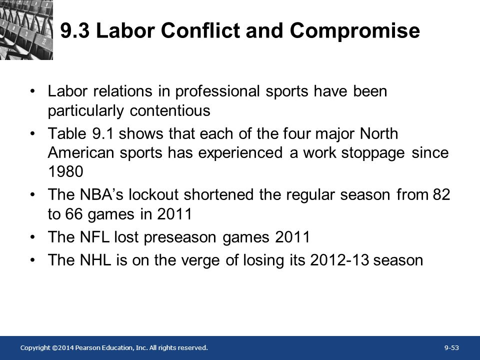 Copyright ©2014 Pearson Education, Inc. All rights reserved.9-53 9.3 Labor Conflict and Compromise Labor relations in professional sports have been pa