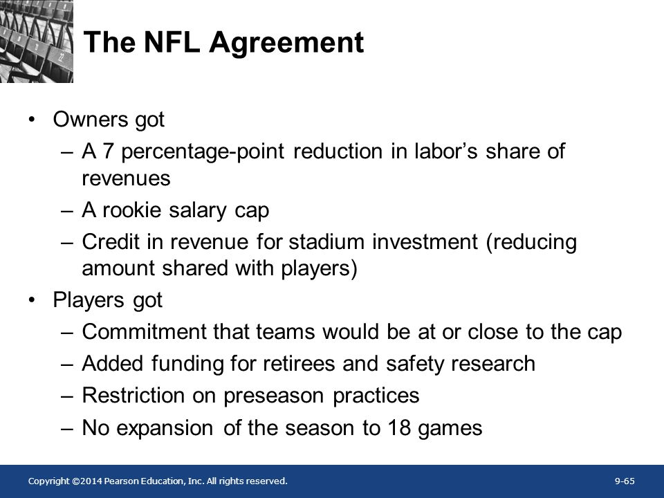 Copyright ©2014 Pearson Education, Inc. All rights reserved.9-65 The NFL Agreement Owners got –A 7 percentage-point reduction in labor's share of reve