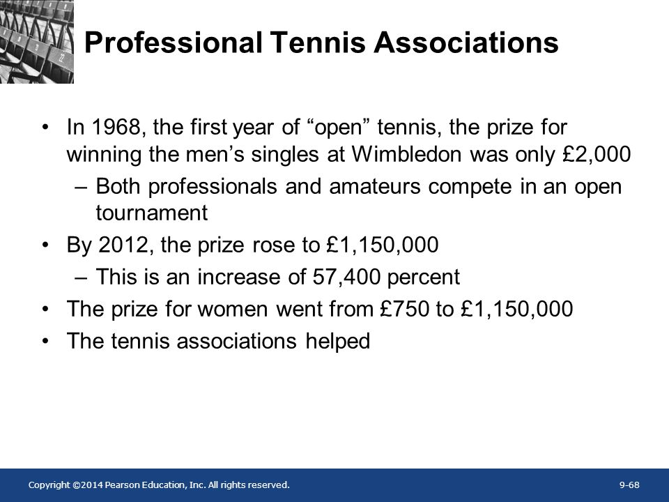 "Copyright ©2014 Pearson Education, Inc. All rights reserved.9-68 Professional Tennis Associations In 1968, the first year of ""open"" tennis, the prize"