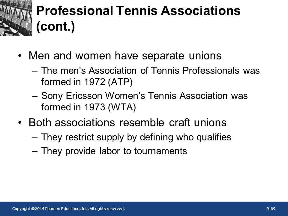 Copyright ©2014 Pearson Education, Inc. All rights reserved.9-69 Professional Tennis Associations (cont.) Men and women have separate unions –The men'