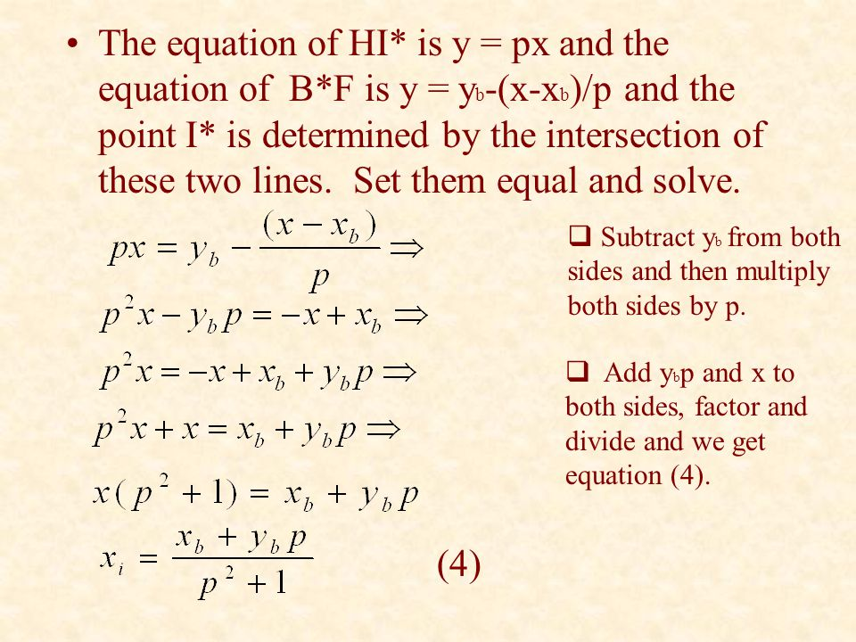 The equation of HI* is y = px and the equation of B*F is y = y b -(x-x b )/p and the point I* is determined by the intersection of these two lines. Se