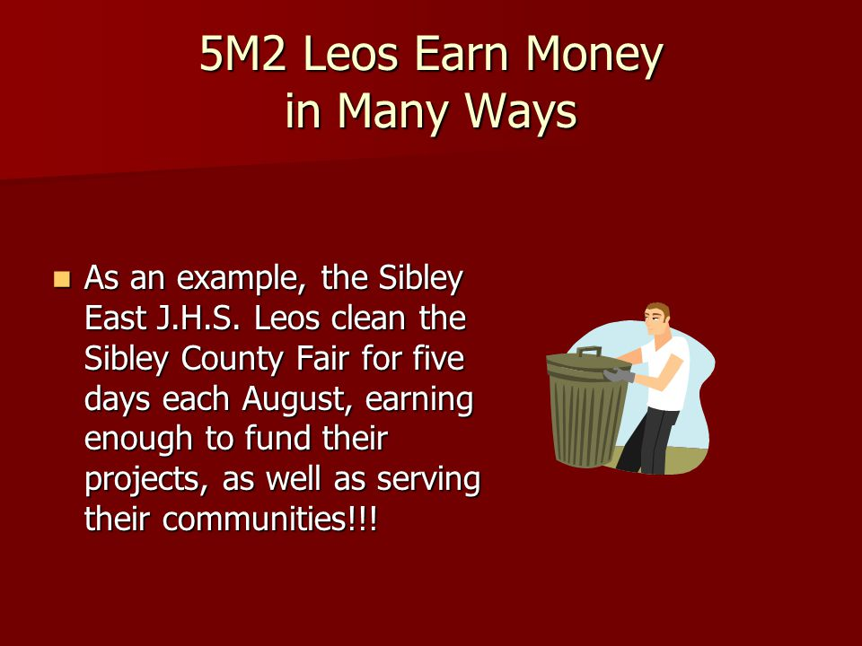 5M2 Leos Earn Money for Charity Earn Money for Charity Do Service Work Do Service Work Assist Lions Clubs Assist Lions Clubs Win Awards Win Awards Donate Donate Have Fun!!.