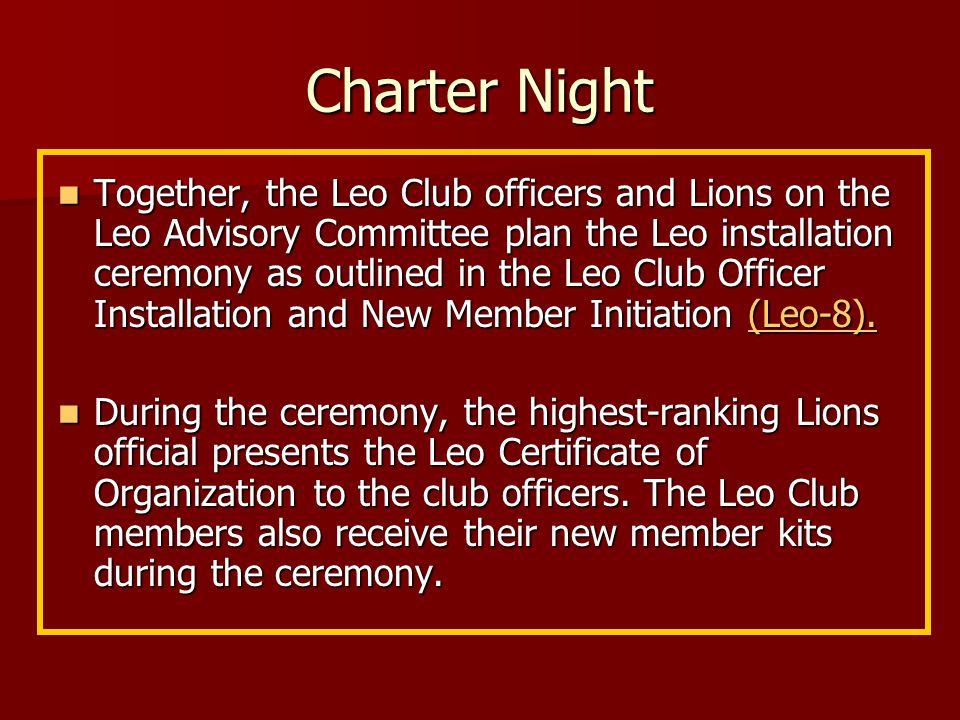Organizing a new Leo club 4.