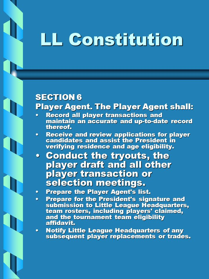 LL Constitution SECTION 6 Player Agent.