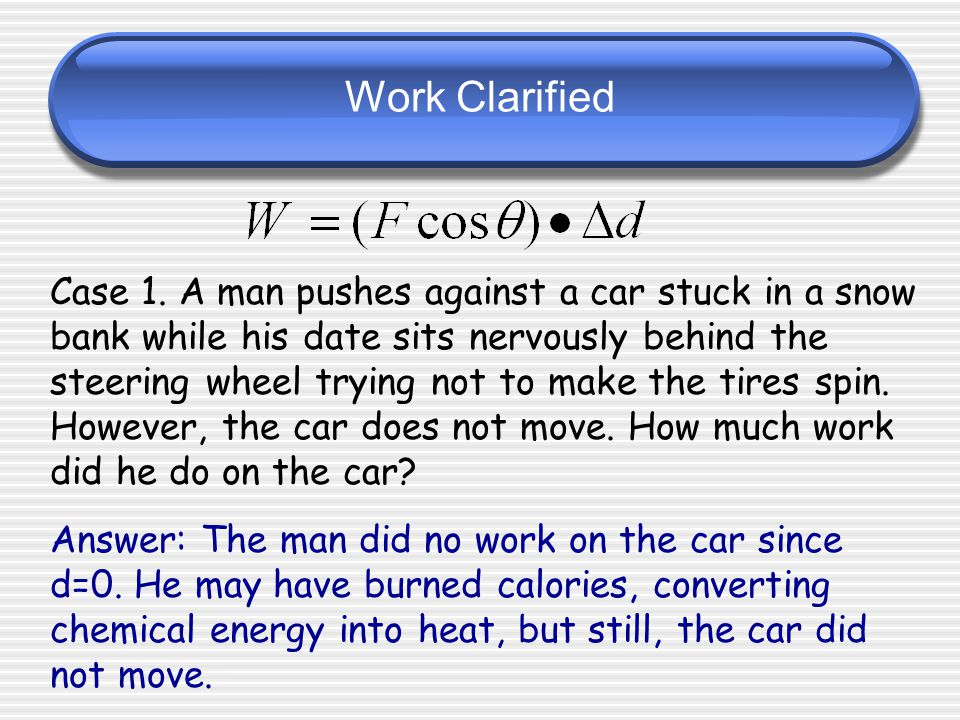 Work Clarified Be careful! Only the force in the same direction as the motion counts towards the work.