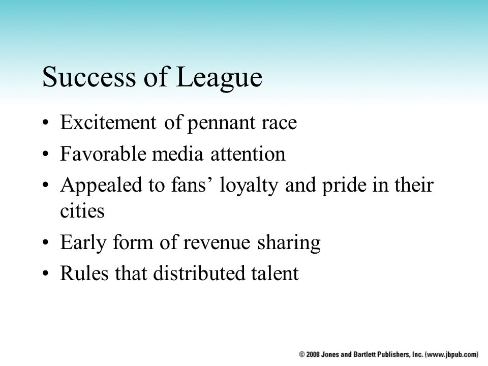 Success of League Excitement of pennant race Favorable media attention Appealed to fans' loyalty and pride in their cities Early form of revenue shari