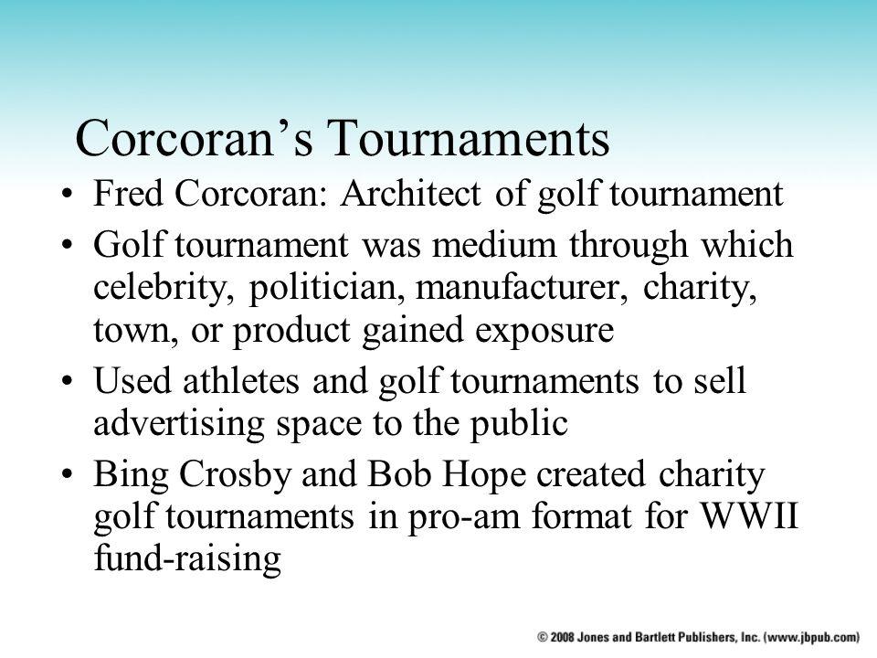 Corcoran's Tournaments Fred Corcoran: Architect of golf tournament Golf tournament was medium through which celebrity, politician, manufacturer, chari