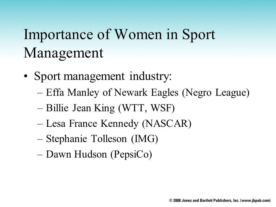 Importance of Women in Sport Management Sport management industry: –Effa Manley of Newark Eagles (Negro League) –Billie Jean King (WTT, WSF) –Lesa France Kennedy (NASCAR) –Stephanie Tolleson (IMG) –Dawn Hudson (PepsiCo)