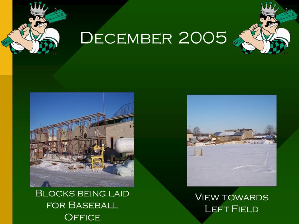 December 2005 Blocks being laid for Baseball Office View towards Left Field