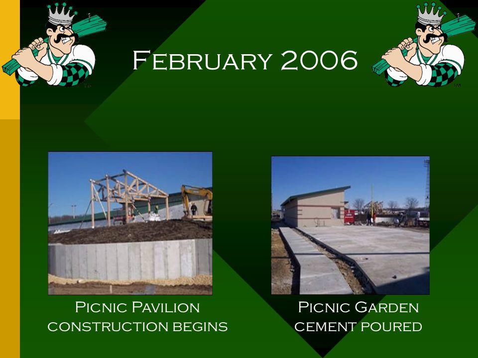 February 2006 Picnic Pavilion construction begins Picnic Garden cement poured