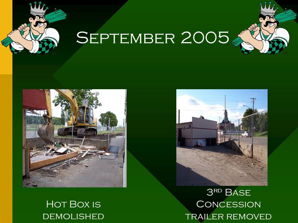 September 2005 Hot Box is demolished 3 rd Base Concession trailer removed