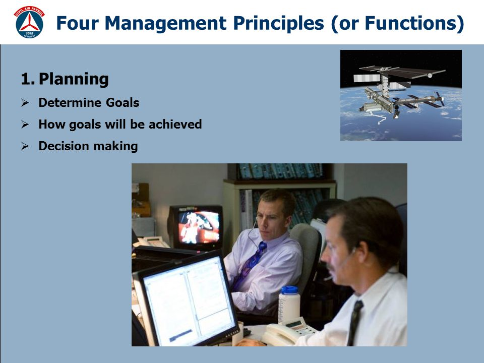 Four Management Principles (or Functions) 1.Planning  Determine Goals  How goals will be achieved  Decision making