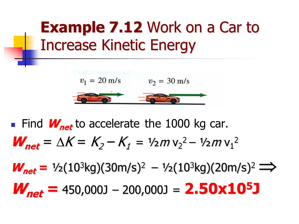 Example 7.12 Work on a Car to Increase Kinetic Energy W net Find W net to accelerate the 1000 kg car. W net =  K = K 2 – K 1 = ½m v 2 2 – ½m v 1 2 W