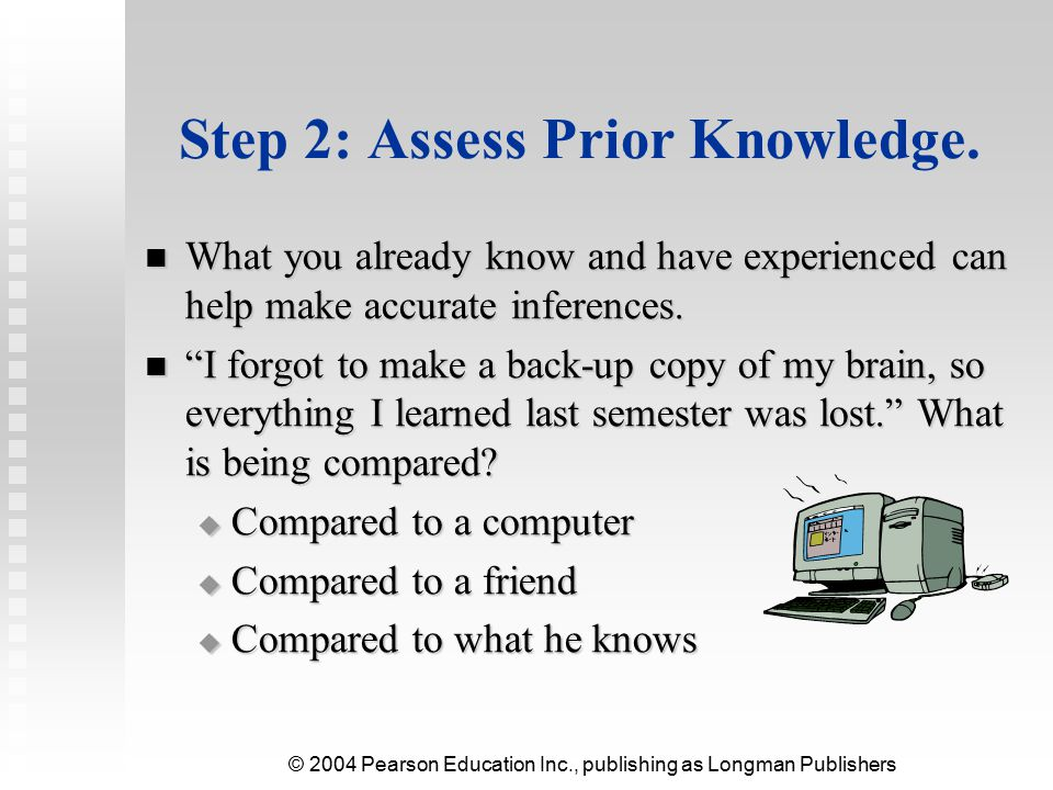 © 2004 Pearson Education Inc., publishing as Longman Publishers Step 3: Learn from the Text.