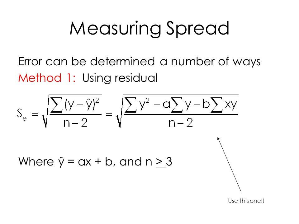 Measuring Spread (cont) Method 2: Find a confidence interval for y True y, for a population, has a population slope, a population y intercept, plus some sort of random error.