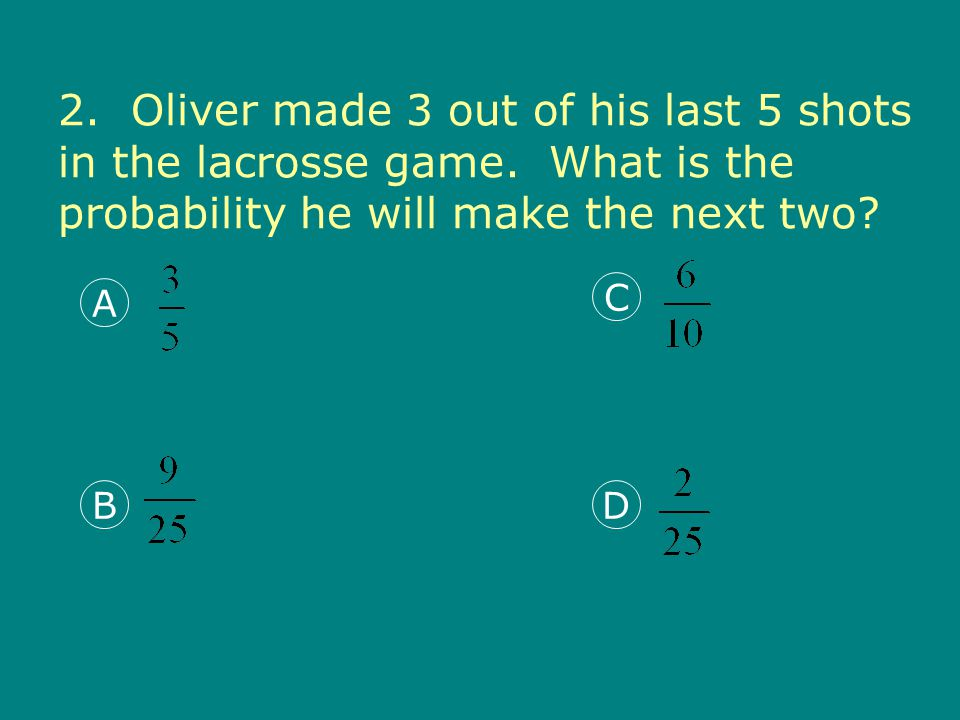 2. Oliver made 3 out of his last 5 shots in the lacrosse game.