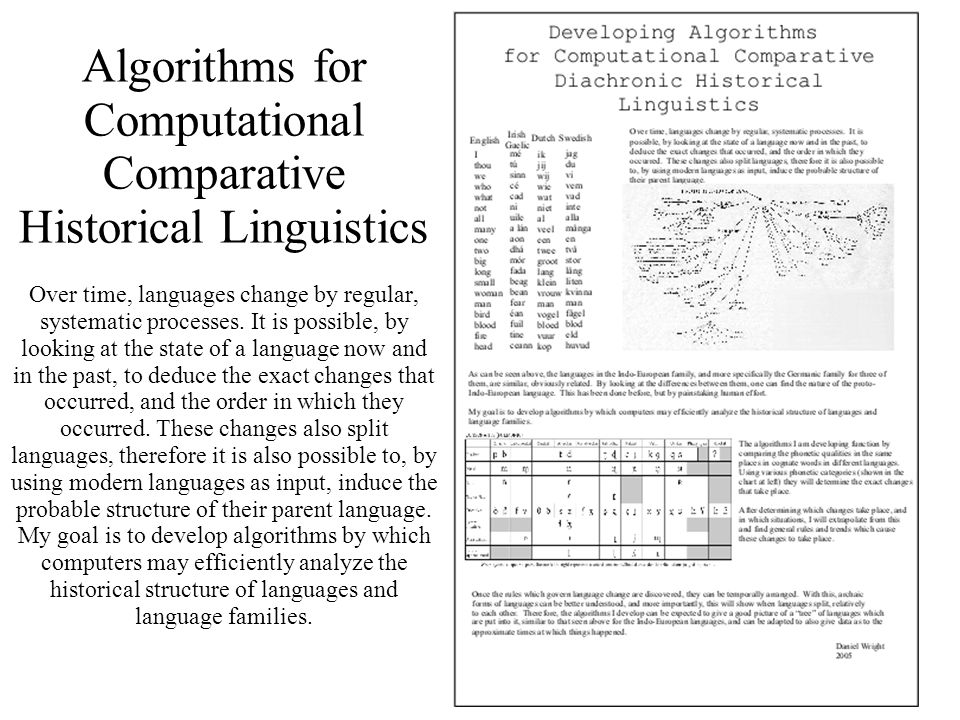 3 Algorithms for Computational Comparative Historical Linguistics Over time, languages change by regular, systematic processes.