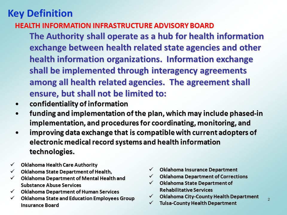 2 Key Definition HEALTH INFORMATION INFRASTRUCTURE ADVISORY BOARD The Authority shall operate as a hub for health information exchange between health