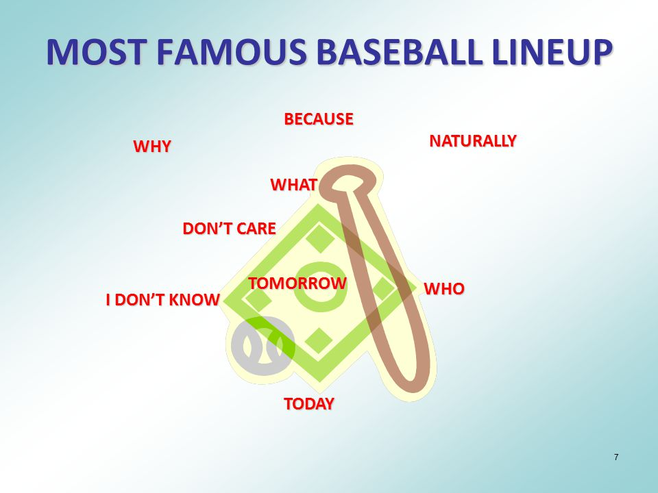 7 MOST FAMOUS BASEBALL LINEUP WHY BECAUSE NATURALLY TOMORROW DON'T CARE TODAY WHO I DON'T KNOW WHAT