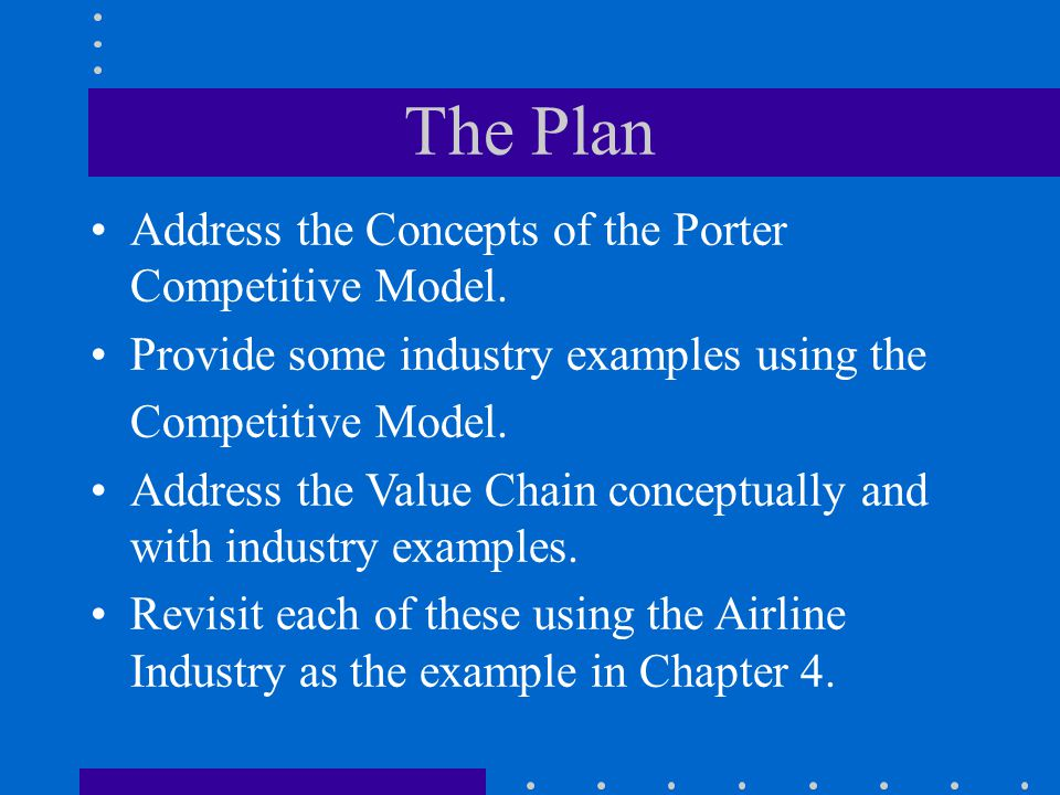 The Plan Address the Concepts of the Porter Competitive Model. Provide some industry examples using the Competitive Model. Address the Value Chain con