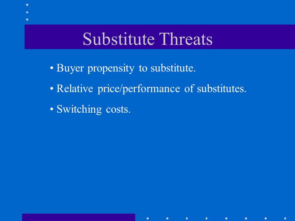 Substitute Threats Buyer propensity to substitute. Relative price/performance of substitutes. Switching costs.